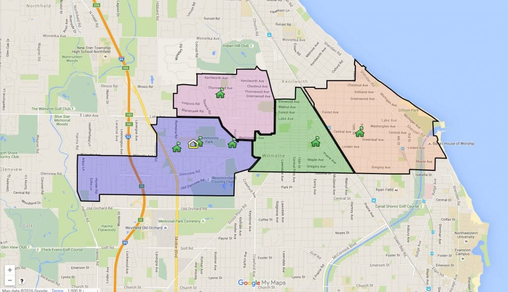 Map of District 39 Wilmette Schools.