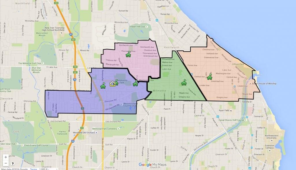 Map of District 39 Wilmette Schools.