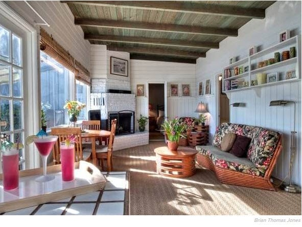 Interior of Eve Plumb's Malibu beach home