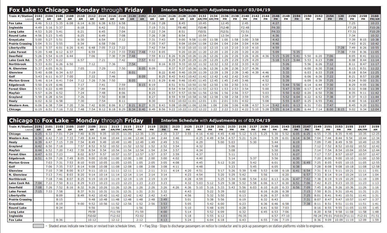 Glenview Metra schedule